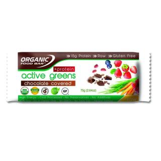 Organic Food Bar Active Greens + Protein Chocolate Covered 75g